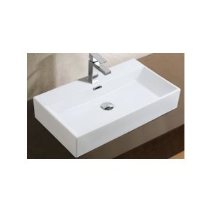 Adelmo Over the Counter Vessel Ceramic Basin Sink, Glossy White
